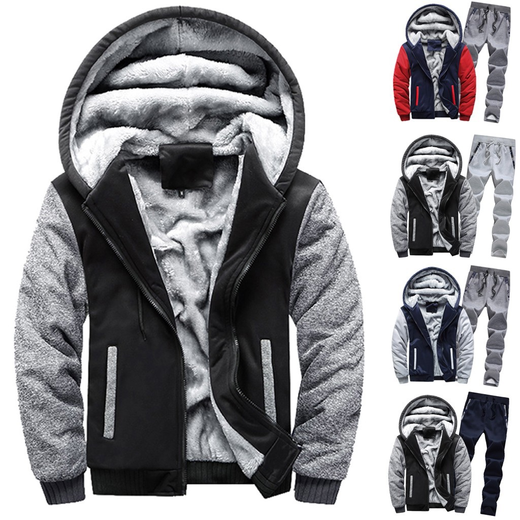 Mens Clothing Mens Hoodie Winter Warm Fleece Zipper Sweater Jacket Outwear Coat Top Pants Sets спортивный костюм мужской