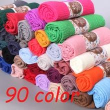 Neueste Frauen Schal Crinkle Blase Hijab Baumwolle Schals Mode Plain Falten Wrap Muslim Stirnband Drapieren Beliebte 87 Farbe 10 teile/los
