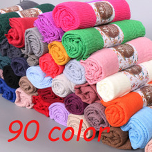 Newest Women Scarf Crinkle Bubble Hijab Cotton Shawls Fashion Plain Wrinkle Wrap Muslim Headband Drape Popular 87Color 10pcs/Lot