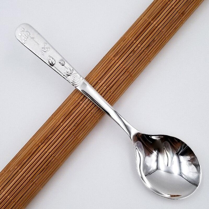 Zen heart 999 silver spoon 65g long silver spoon household silver tableware edible silver spoon spoon teaspoon