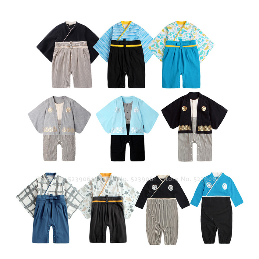 Newborn Baby Boy Girl Kawaii Yukata Japanese Samurai Kimono Kids Cotton Soft Infant Traditional Bath Robe Sleepwear Party Outfit