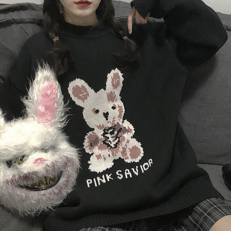 Sweater oversize Autumn Winter Harajuku bunny Knitting korean fashion Y2K Women's sweaters Loose Pullover Gothic punk clothes