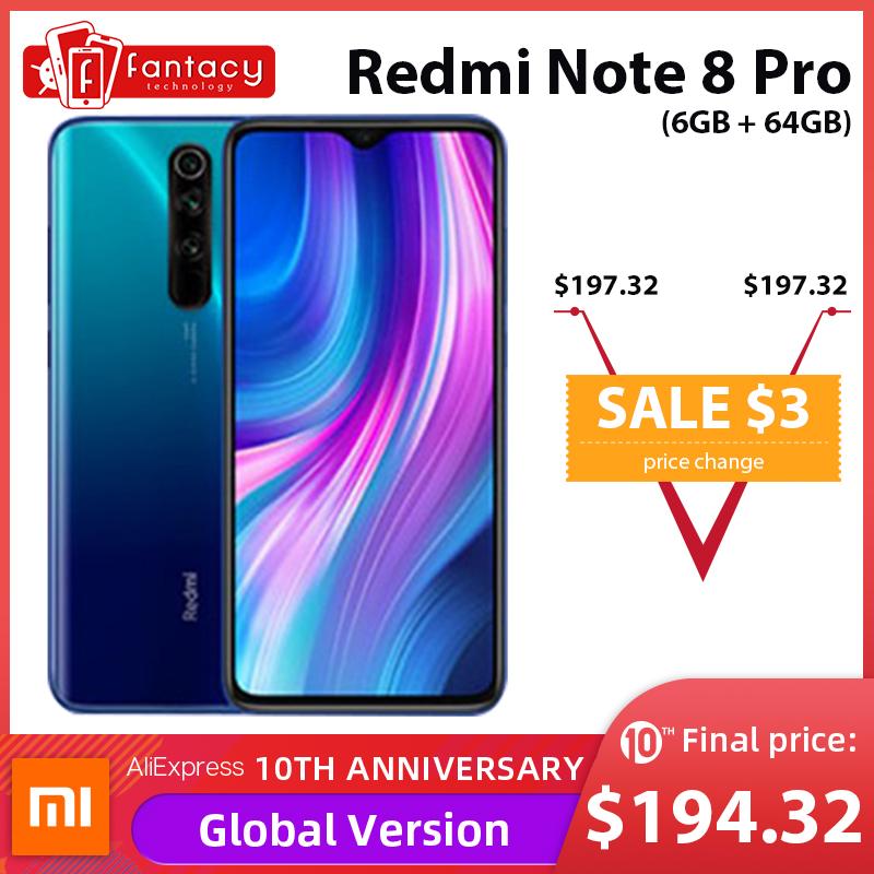 Xiaomi Redmi Note 8 Pro 6GB 64GB GSM/CDMA/WCDMA/LTE Quick Charge 3.0 Bluetooth 5.0 Octa Core title=