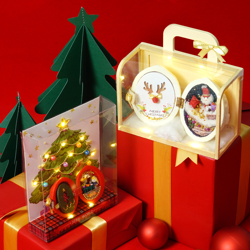 Christmas Gift DIY Dollhouse Furniture Miniature Wooden Miniaturas Doll House Box Theatr Toys For Children Casa Seed World