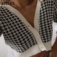 Sllskyのチェック柄カーディガンセーター女性vネックエレガントなシックなショートセータートップス春ファッションジャンパー女性ストリート