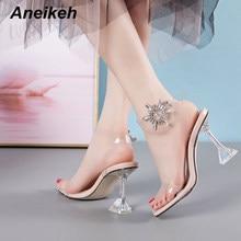 Aneikeh 2020 moda lato Rhinestone przezroczysty PVC przezroczyste sandały damskie buty Peep Toe Spike obcasy wysokie sandały na obcasie 41 42