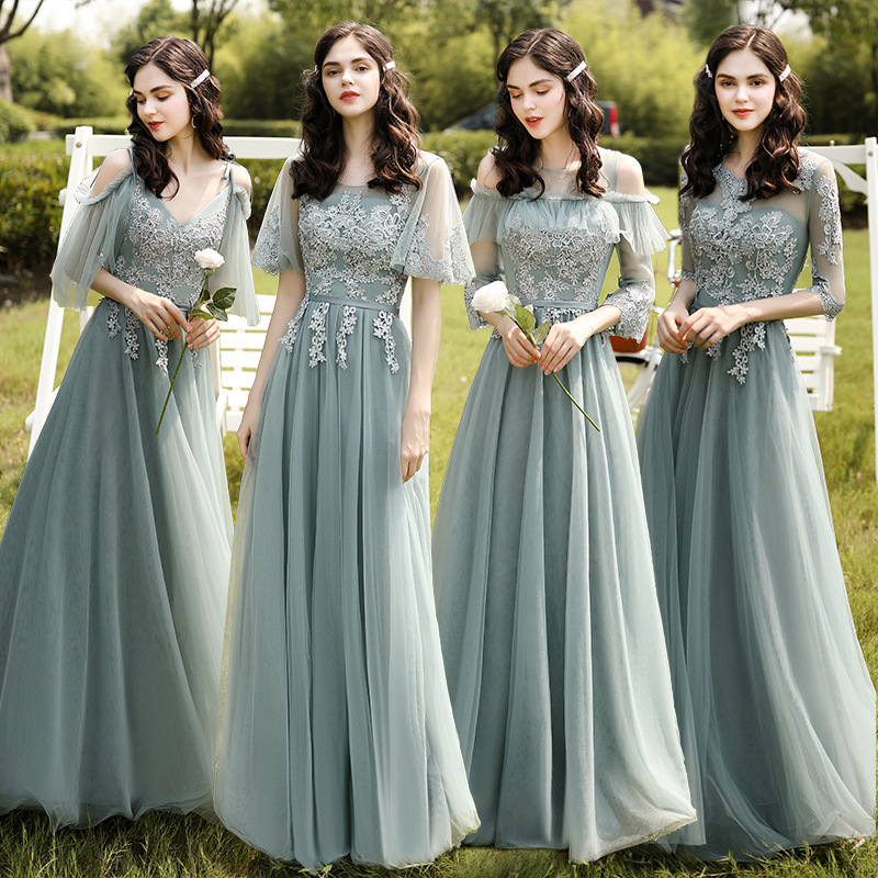 Exquisite Lace Wedding Party Dresses Chic Appliques Spaghetti Straps Long Bridesmaid Dress Flare Sleeves Gowns For Women