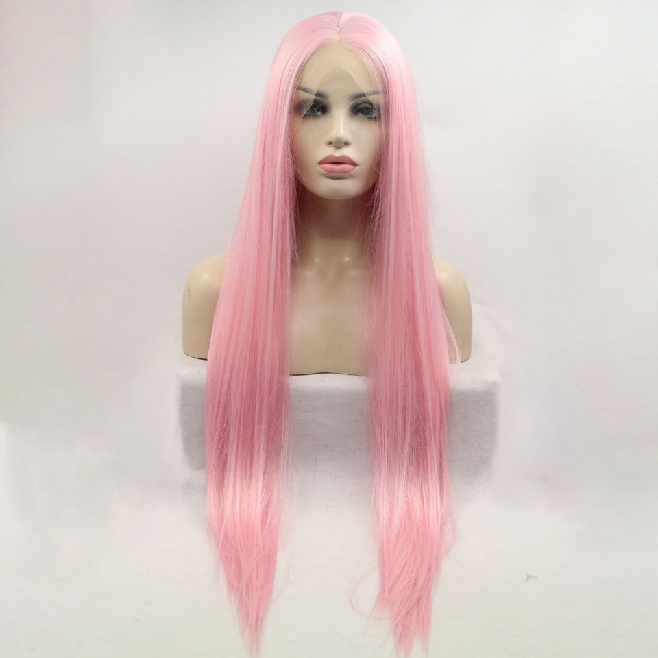 DOROSY HAIR High Temperature Fiber Synthetic Lace Front Wig  Perruque Frontal Full Pink Color Cosplay Long Straight For Women
