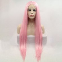 цена на DOROSY HAIR High Temperature Fiber Synthetic Lace Front Wig  Perruque Frontal Full Pink Color Cosplay Long Straight For Women