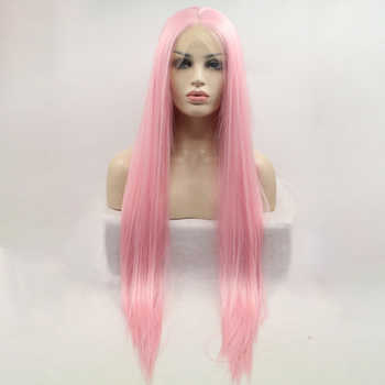 DOROSY HAIR High Temperature Fiber Synthetic Lace Front Wig  Perruque Frontal Full Pink Color Cosplay Long Straight For Women - DISCOUNT ITEM  26% OFF All Category