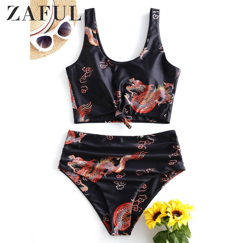 ZAFUL Knot Ruched Dragon Print Tankini Swimsuit Tank Top Swimsuit Removable PaddedU Neck Elastic Crop Top Women Swimsuit Sets