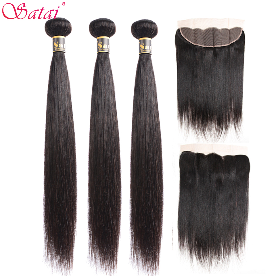Satai Straight Hair Human Hair 3 Bundles With Frontal Natural Color Indian Hair Bundles With Closure Non-Remy Hair Extension
