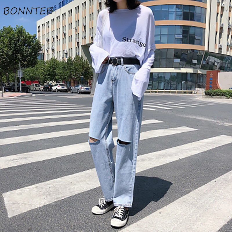 Jeans Women Chic Loose Simple Korean Style Casual Daily Harajuku All-match High Quality Trendy Student Pockets Womens Jean 2020