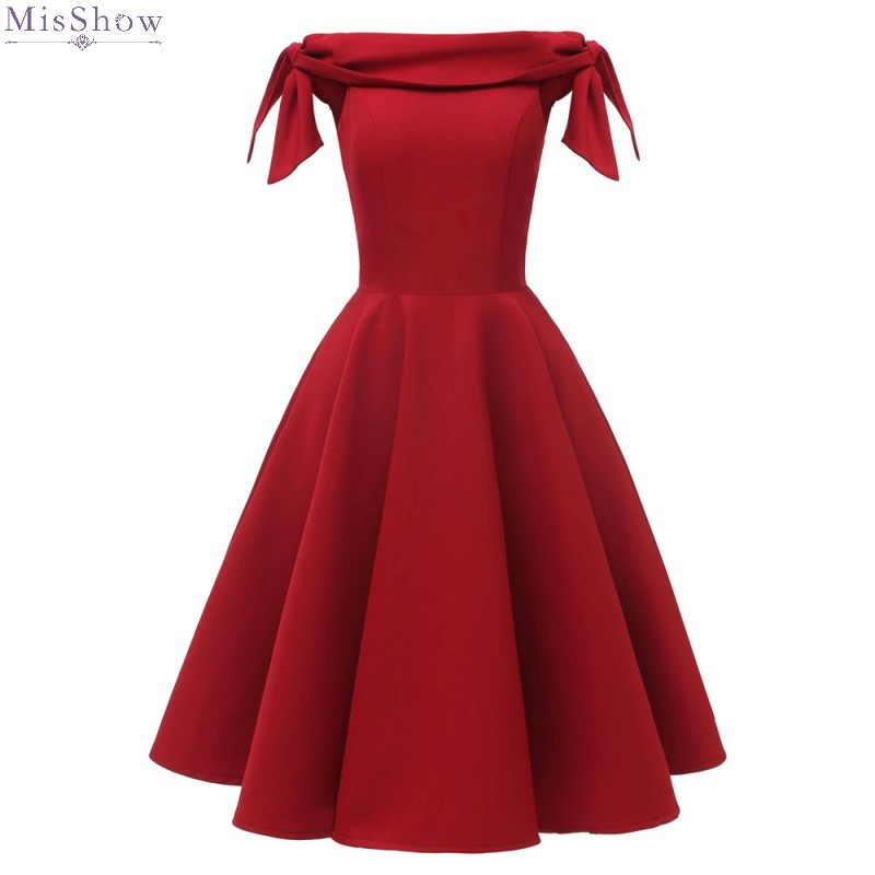Cocktail Dresses 2019 Red Short Formal Party Gown Elegant A Line Off The Shoulder Sleeveless Robe Coctail