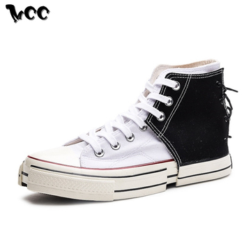 1 6 female body long sleeve shirts short pants male lace up sneakers high top shoes New Men High Top Canvas Shoes Lace-up Sneakers Unisex Casual Footwear Retro Deconstruction Design Stylish White Male Skate Shoes