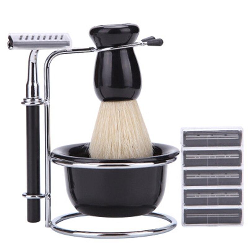 Suporte de Barbear Preto + Escova de Cerdas Tigela + Navalha de Segurança + Lâminas Conjunto de Viagem para Homem 5 em 1 & Mod. 112727