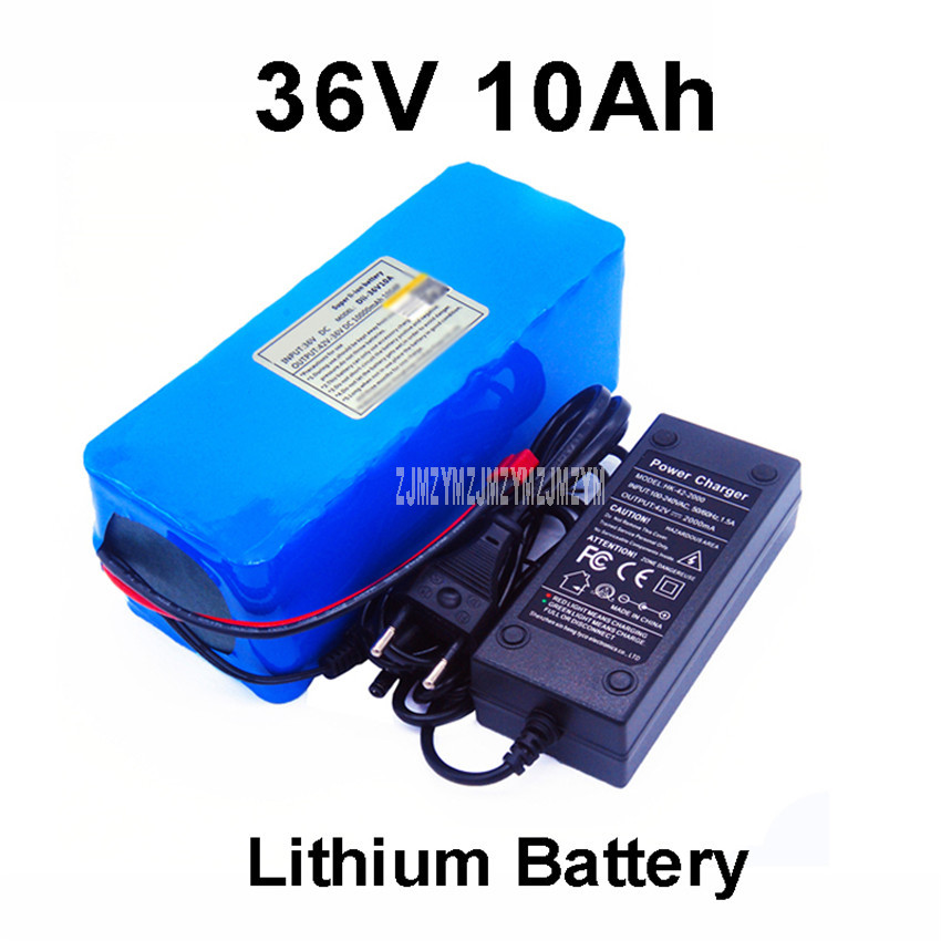 <font><b>36V</b></font> <font><b>10Ah</b></font> 10000mAh <font><b>18650</b></font> Lithium Battery Pack PCV Case Built-in Protection Board For Electric Scooter Bicycle Ebike + Charger image