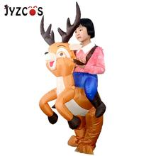 цена на JYZCOS Kids Elk Inflatable Costumes Christmas Halloween Show Inflatable Funny Clothes Party Dress Mascot Animal Cosplay Costume