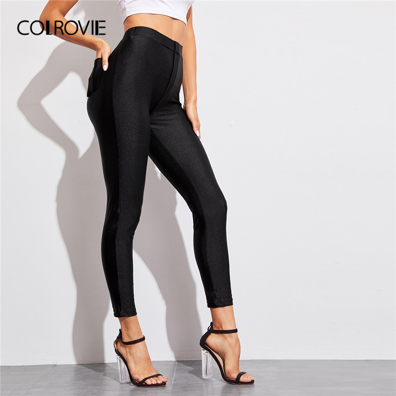 COLROVIE Black High Waist Pocket Detail Solid Pants Women Casual Skinny Pants 2019 Autumn Fashion High Waist Streetwear Trousers