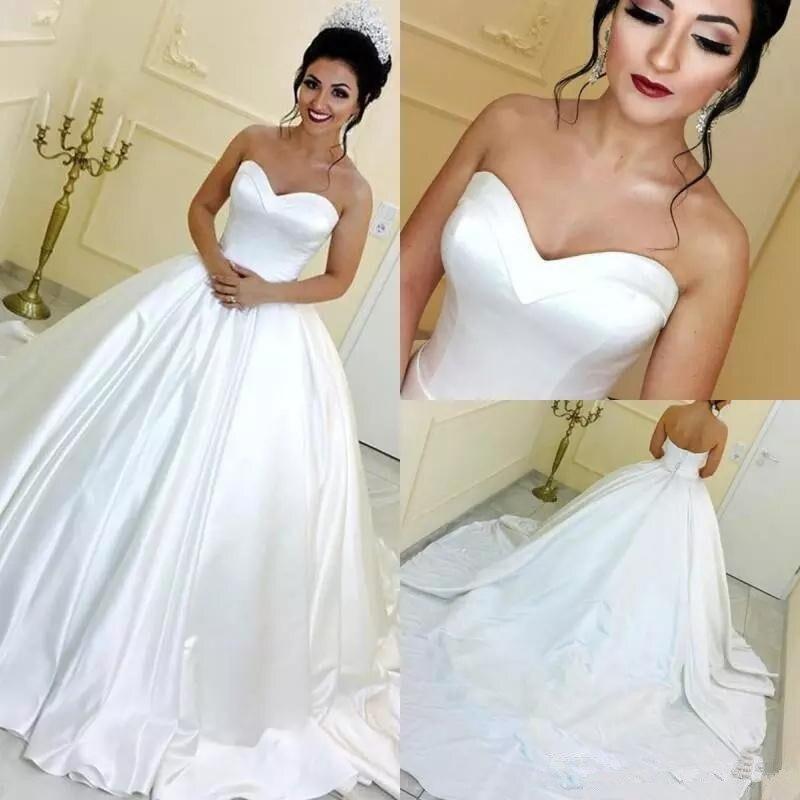 Vintage White Ball Gown Arabic Wedding Dresses 2020 Sweetheart Sleeveless Satin Court Train Wedding Gowns Bridal Dress Cheap