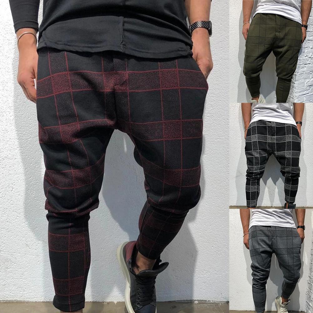2019 Fashion Casual Harem Plaid Pants Men Plaid Pocket Low Crotch Harem Pants Trousers Loose Fit Hiphop Street Wear