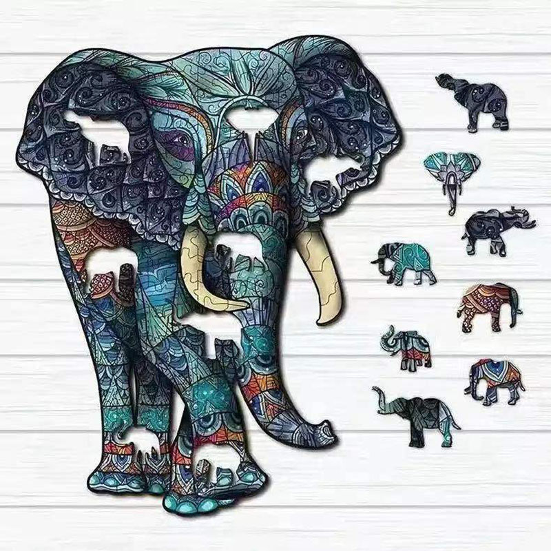 Hot selling 3D wooden puzzle children's toys custom shaped animal elephant wooden puzzle, children's educational game