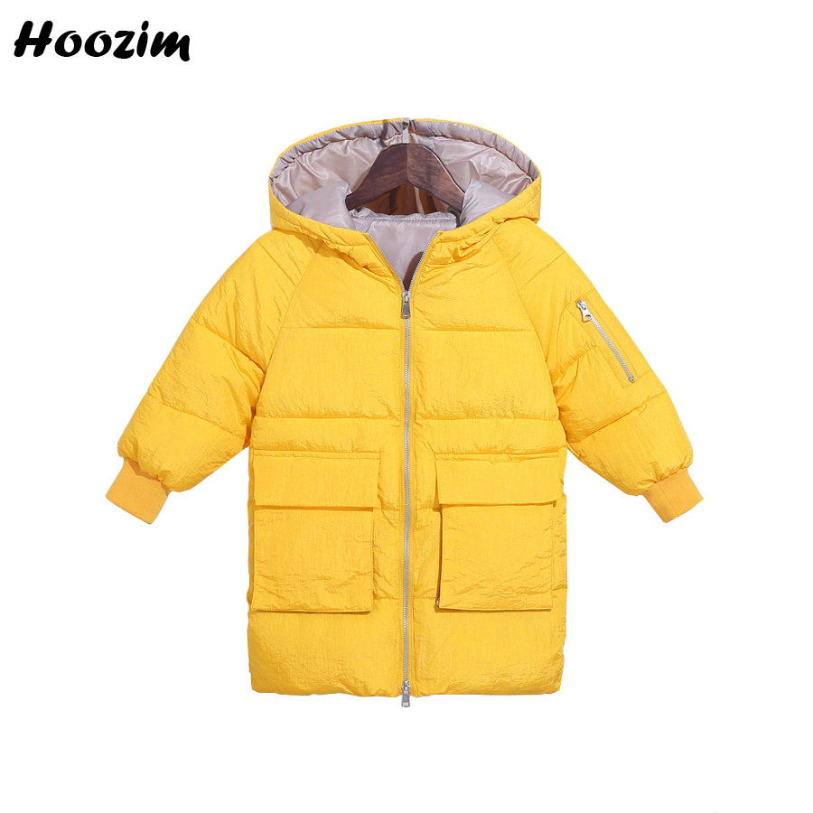 Winter Yellow Jacket For Girls 3 -13 Years Fashion Solid Hooded Parka Children Casual Long Coat For Boys 2019 New Kids Outerwear