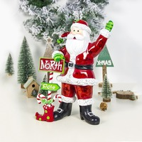 Color Painted Resin Santa Claus Christmas Ornaments Winter Holiday Figurines Home Party Decorations Crafts Gifts Christmas Decor