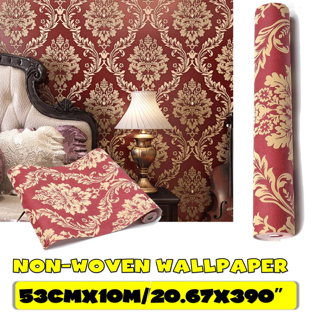 53cm*10m 3D Red Wine European Style Non-woven Wallpaper Classic Wall Paper Roll Wallcovering Luxury Wallpaper