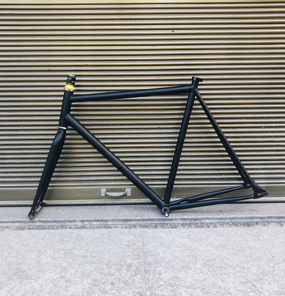 fixe bike <font><b>frame</b></font> 58cm black vintage fixed gear bike <font><b>frame</b></font> single <font><b>bicycle</b></font> lug <font><b>frame</b></font> <font><b>steel</b></font> with fork image