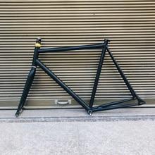 Marco de bicicleta fixe 58cm negro vintage piñón fijo Marco de bicicleta montura de bicicleta de acero con horquilla