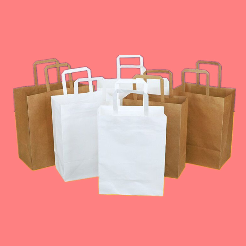 25 pièces papier Kraft épais emballage alimentaire sacs fête anniversaire mariage faveur couleur pure cadeau sac avec poignée accessoires de cuisine