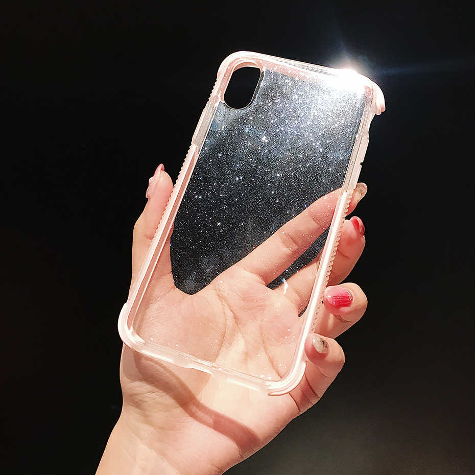Qianliyao brillante funda para iPhone x XR XS Max 8 7 6 6S Plus 11 Pro Max funda trasera transparente suave TPU a prueba de golpes