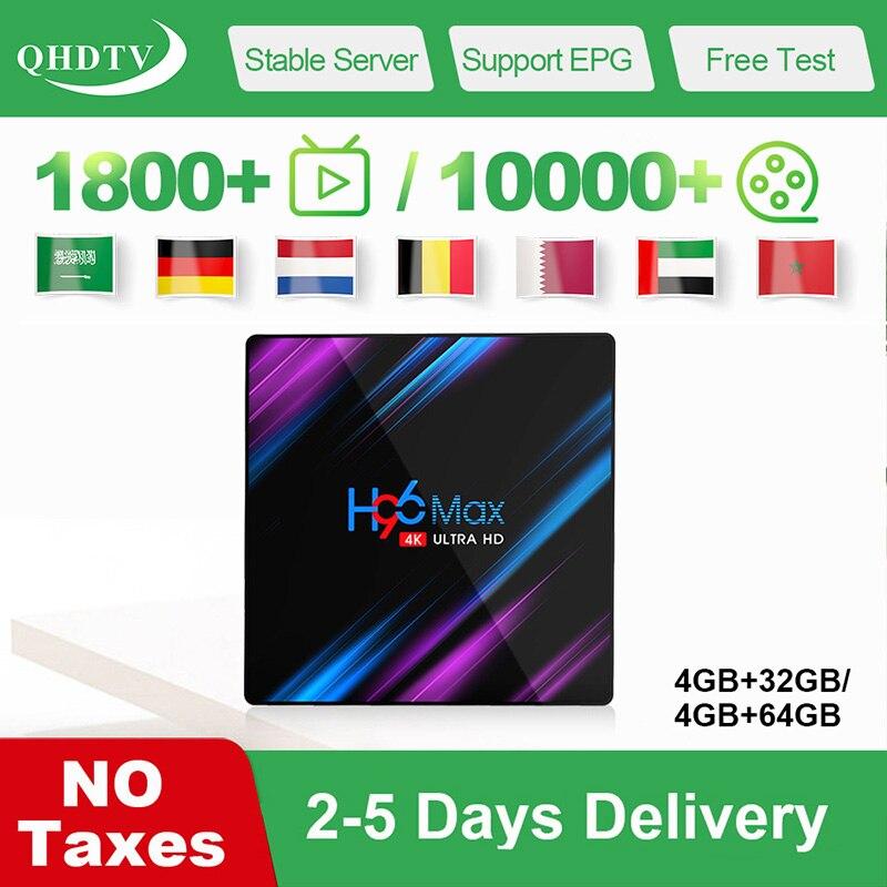 H96 Max IPTV Arabic Belgium Android 9 0 Tv Box RK3318 4G 32G 64G QHDTV IPTV