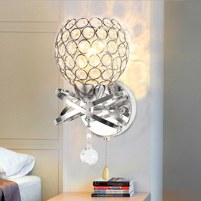 Image 3 - Crystal Wall Lamp Simple and Creative Bedroom Bedside Wall Lamp Home Lighting Living Room Crystal LampWall Lamps   -