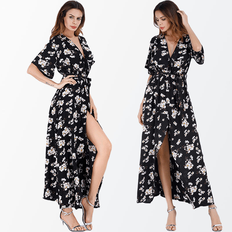Boho Floral Print Mid <font><b>Dress</b></font> Women's Summer Beach Casual Long Sun <font><b>Dress</b></font> Female 2020 Vogue Vintage Loose <font><b>Yellow</b></font> <font><b>Sunflower</b></font> <font><b>Dresses</b></font> image
