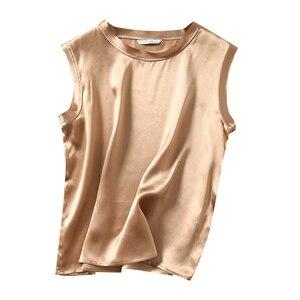 Verão feminino 100% puro cetim de seda tank top singlet colete camisa so0043