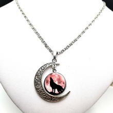 Moon Necklace Glass-Pendant Cabochon Wolf Back-Down Never Popular Give-Up Photo