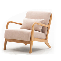 Nordic Leisure Sofa Chair Balcony Wood Chair Bedroom Living Room Furniture with Soft Padded Pillow