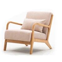 Nordic lazer sofá cadeira varanda cadeira de madeira quarto sala de estar móveis com macio acolchoado travesseiro