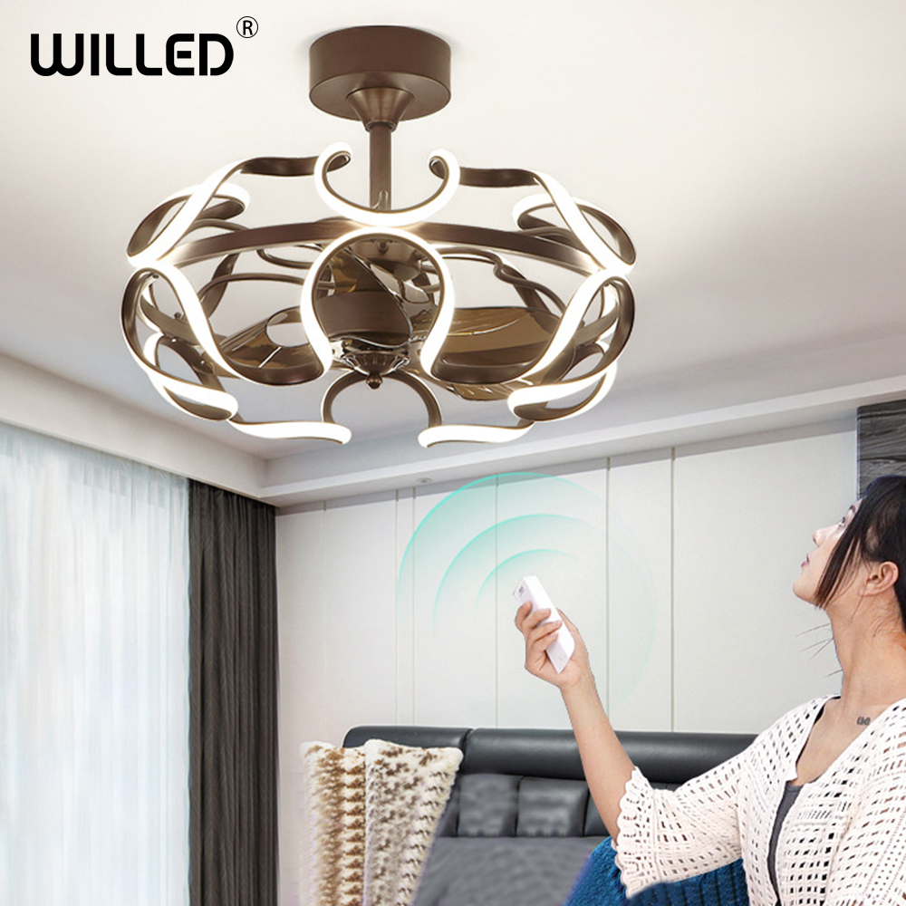 Nordic Invisible Fan Lights Frequency Conversion Chandelier With Remote Control For Home Bedroom Restaurant 220v Creative Simple