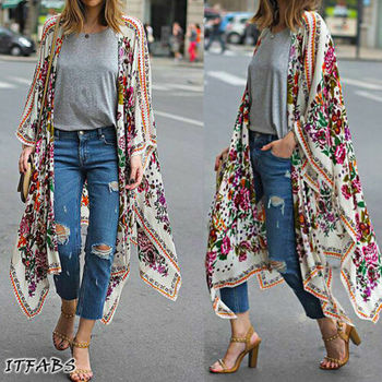 Women Loose Floral Print Blouse Summer Casual Boho Chiffon Coat Shawl Kimono Cardigan Tops Plus Size 3XL 1