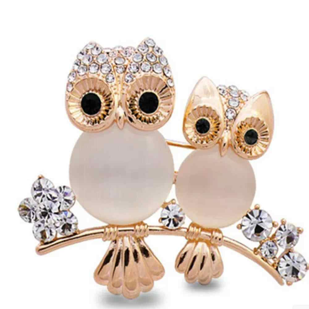 LNRRABC Women Double Owl Rhinestone Brooch Pin Girls Badge Gift Rhinestones Fashion Jewelry Charms For Women Bijoux Bijouterie