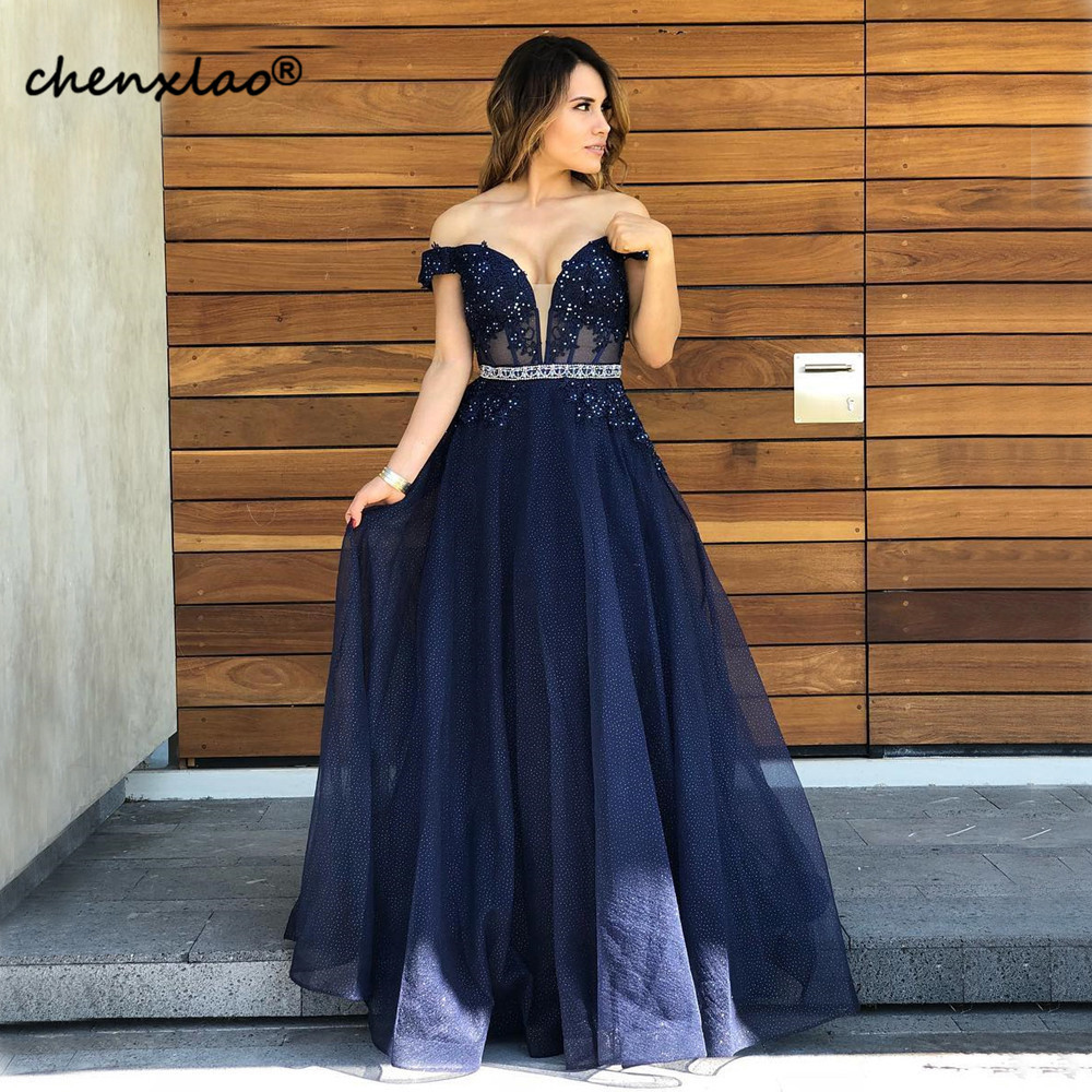 Vestidos Navy Blue Long Evening Dress Off The Shoulder Beaded Lace Illusion A Line Charming Prom Gowns - 4