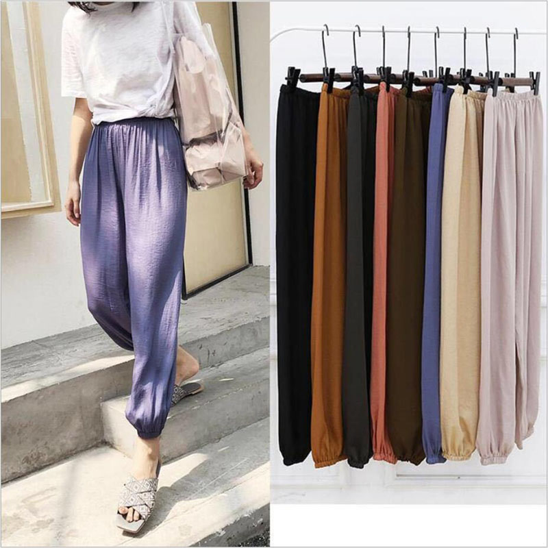 Women Summer Flax Ninth Pants Polyester Fiber Trousers High Waist Lady's Loose And Comfortable Hot Girls' Casual Cloth Garments