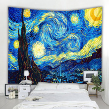 Tapestry Rug Decoration Wall-Hanging Painting-Printed Yoga-Mat Gogh Night-Van Star Living-Room