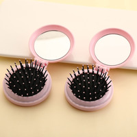 Mini Pocket Mirror Cute Massage Folding Mirror with Comb Portable Pocket Small Travel Girl Hair Brush with Mirror Styling Tools 5