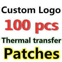 LOGO de marque personnalisé transfert de chaleur à repasser, t-shirt pour décoration sur vêtements, Patch autocollants, DIY bricolage, 100 pièces/lot
