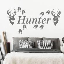 Vinyl Art Home Decor Personalized Name Deer Hunter Antlers Wall Sticker Child Room Custom Jungle Animal Foot PrintW619
