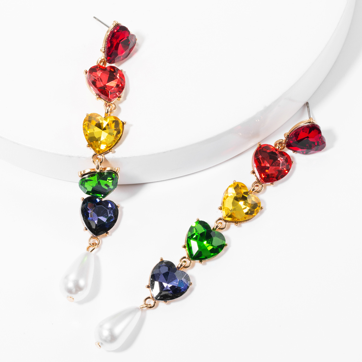 LUBOV Luxury Heart Tassel Drop Earrings Pendientes Largos Mujer Wedding Earrings Women Earings Drop Long Christams Gift